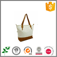 White women bags canvas tote with leather handle