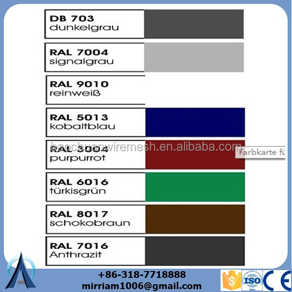 Available color for double rod wire mesh fence.jpg
