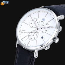 quality stainless steel genuine leather quartz new design hand watch men