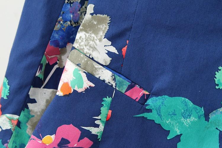 Пиджак женщин Большой размер XXL цветочные элегантный печать Blaser свободного покроя пиджак марка дизайн Chaquetas Mujer ASS-2797