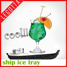 Flexible non-stick boat shape wholesale silicone ice cube tray with lid