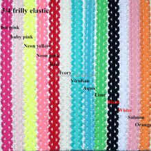 Wholesale 3/4 Picot Stretch lace frilly edges elastic webbing lace headband,diy for baby hair decoration