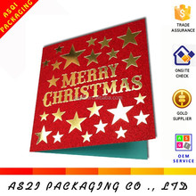 Yiwu manufactuer customize all kinds of glitter greeting card for new year 2015