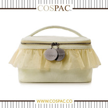 Promotional Fashion Yellow Plush with Satin Ruffles with Mirror Cosmetic Bag