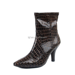 Winter PU leather Ladies botas high heel half ankle boots women short boot fashion footwear shoes