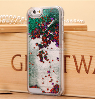New Type Transparent Clear Glitter Star Dynamic Liquid Quicksand Phone Back Cover Phone Case For Iphone 5 6 6 plus Samsung