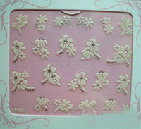 Beauty flower watermark 3D Nail Stickers