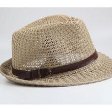 Wholesale Mens Cheap Panama straw hats with Black Ribbon Straw fedora Hats