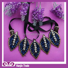 Cristal blue satin flower colar / falso colar colar colar falso
