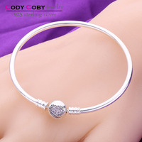 making gold bangles latest designs 925 silver charms bangle bracelet with heart clip pave fanny pink CZ wholesale DIY jewelry