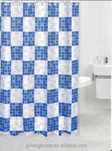 Blue Block Vintage Bathroom Shower Curtain Set