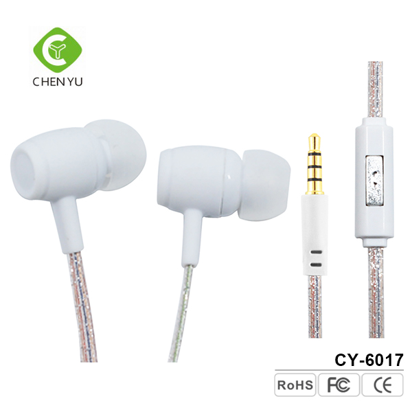 Guangzhou electronics oem white color cute style in ear earphone with mic