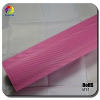 TSAUTOP 2015 Poplur 18 Colors 1.52*30m 3D Pink Carbon Fiber Vinyl Car Body Wrap Film