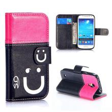 Nice design Smiling Face leather case for Samsung Galaxy S4 Mini case