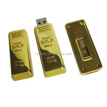 Golden Bar Shape USB Flash Drive, Promotional USB Pen
