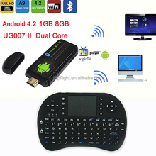 UG007II RK3066 Dual Core RAM 1GB ROM 8GB +R13 Air Mouse keyboard Android Netflix Movie Player Smart MINI PC TV Stick TV Box