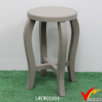 Curved Legs Antique Shabby Wooden Round Sitting Stools for Kitchen