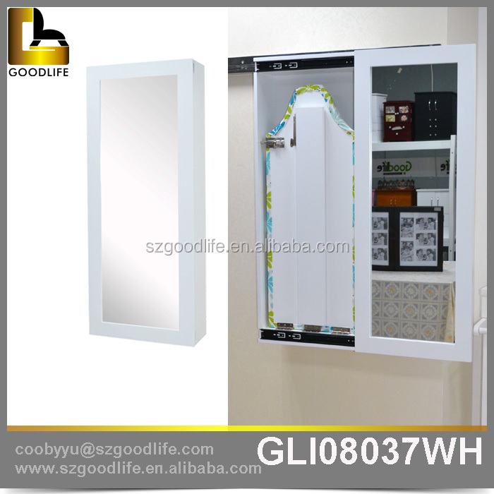 Wall Mounted Wooden Floating Sliding Door Ironing Board Cabinet View
