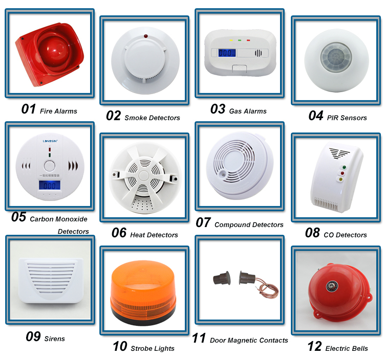 Home Hotel Security Systems Alarm Sensor Wired Smoke Detectors Mini ...
