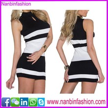 New fashion blanc et noir halter dernières robe designs photos