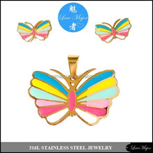 love wins gay pride butterfly stainless steel jewelry sets design MJRAS-070