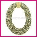 コスチュームジュエリーのネックレス、 バラ色の銅をpuyingマグネットクラスプネックレス青い革で