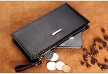 Brand genuine leather men clutch bags zip purse checkbook organizer wholesale wallet