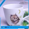 2015 new V-shape sublimation ceramic coffee mug with silicon lid&sleeve&spoon