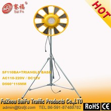 Rotary warning light with triangle metal shelf with 12v battery box with 208 pcs super brightness led light