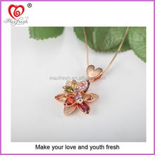 New designs colorful necklace women gold friendship heart necklace i love you necklace
