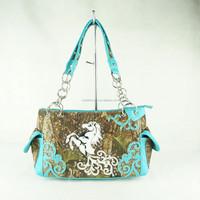 Ladies fashion PU leather handbag punk-pop metal horse printing shoulder bag 2015