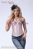 wholesale fashion pink halter corset and polka dot corset dress