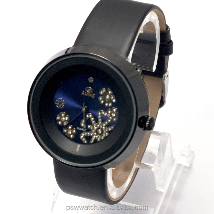 unique design black geneva flower watch lady fashion watch lady leather watch