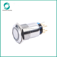 19mm Flat round Illuminated Momentary/Latching waterproof ring illuminated led push button light