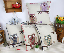 Hot linen pillow wtih piping sofa decorative chair back cushion,applique patchwork cartoon owl embroidery cushion cover