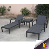 Outdoor PE rattan SGS certificated good quality aluminium sun lounger with arm