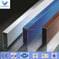 Shopping mall suspended faux wood grain aluminum baffle ceiling