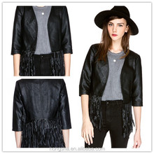 Clothes of fashion Woman trip out fringe leather jacket 2015 HSC6331