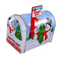 china factory mail shaped christmas snow metal box