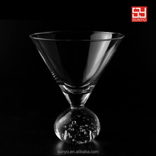 Crystal Cocktail heavy stem martini glass with bubble ball base