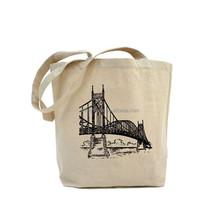 Yiwu cheap custom printed fashion canvas tote shopping bag