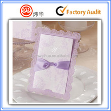 latest design Custom wedding card , wedding invitation card with laser and butterfly decoration