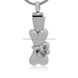 316L Stainless Steel Pets Dog Bone Butterfly Knot Shape Memorial Cremation Keepsake Urn Jewelry Pendant To Put Ashes Or Hairs