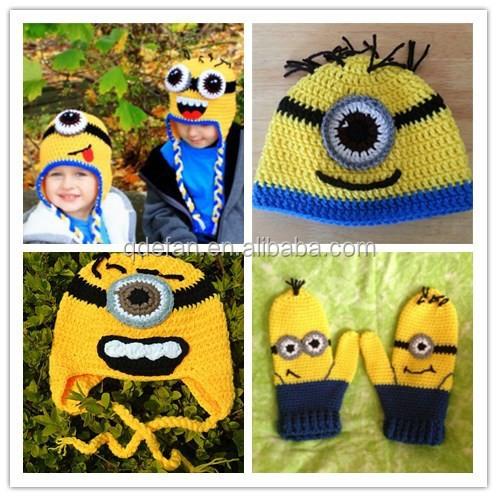 Children Beanies Crochet Minion Mittens Minion Baby ...