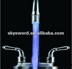 temperature controlling led lighted kitchen waterfall faucet