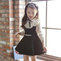 phelfish wholesale designer clothing for kids clothes Children Clothing Sets white blouse +sleeveless dress 2 pieces set 15172