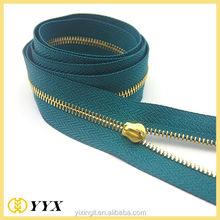 Shining teeth high quality tape rose gold metal zipper for garments