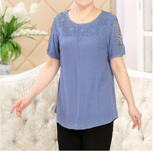 The new middle-aged middle-aged ladies fitted T-shirt solid color short-sleeved T-shirt cotton mother dress coat big yards whole
