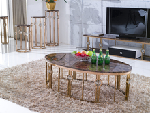 C9001 Golden plating metal base oval coffee table with faux marble top