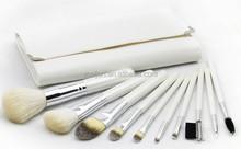 MELJUN custom make up brushes set white with leather cosmetic bag 10pcs